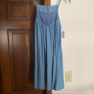 NWT Embroidered Chambray Mini Dress